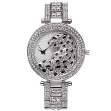 Leopardo mulheres bangle relógio de pulso de quartzo de cristal de luxo relojes relógio de strass moda feminina relógios hot sale da mulher elegante