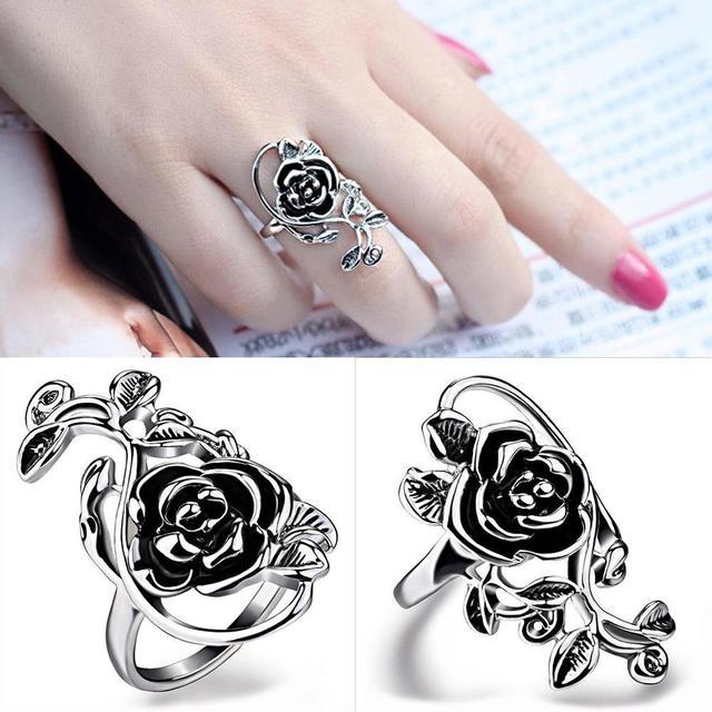 Готический Женская роза лоза сплав эмалевое кольцо на палец Косплей украшения подарок