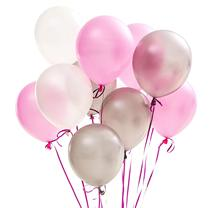 METABLE 100 pcs 12/10 Inch Pale Pink Balloons White Silver Balloons,Decorations for First Holy Communion, no ribbon