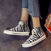 Womens canvas shoes zebra Hand Painted sneakers women street wild high-top walking girl casual