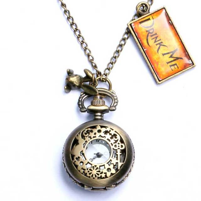 Alice in Wonderland Small Hollowing Quartz Fob Pendant Necklace Watch With Drink