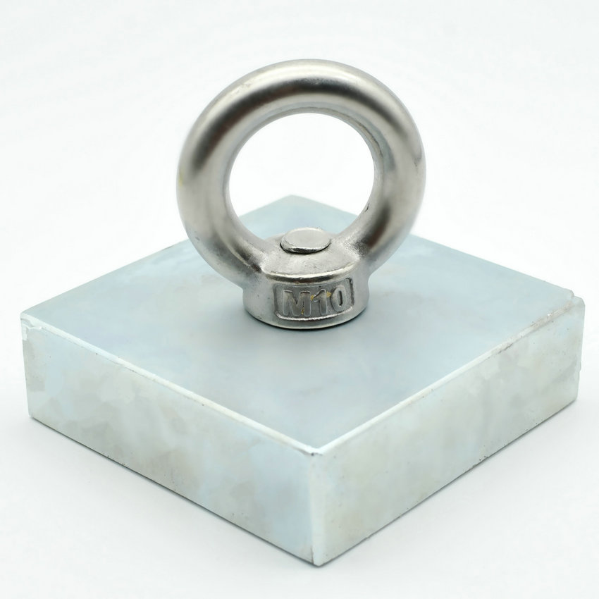 253kg pulling NdFeB Lifting Magnet 75x75x23 mm with M10 Screw Countersunk Hole Block N52 Neodymium Rare Earth Permanent Magnet