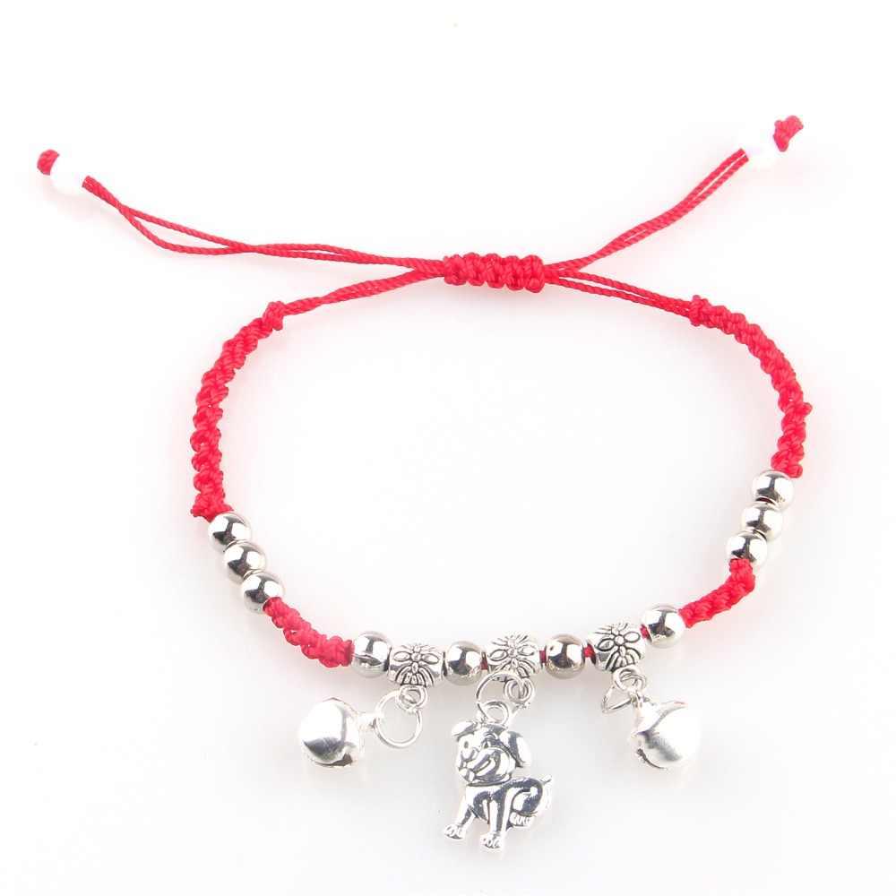 ccd27bc8ab32 Moda rojo hilo amuleto cuerda lindo pie perro Retro cuentas encanto cadena  pulseras para mujer amistad Dropship
