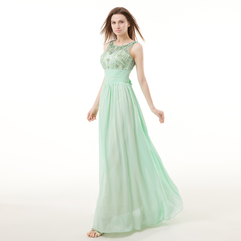 Forevergracedress Real Sample Mint Green Evening Dress New Sleeveless Long  Chiffon Beaded Crystals Formal Party Gown Plus Size-in Evening Dresses from  ... e6fcfeee7384