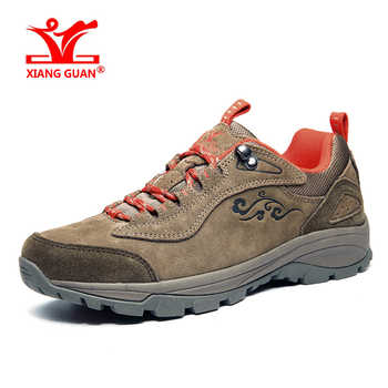 XIANGGUAN outdoor sports shoes for men athletic light leather waterproof breathable hiking shoes women climbing sneakers 36-45