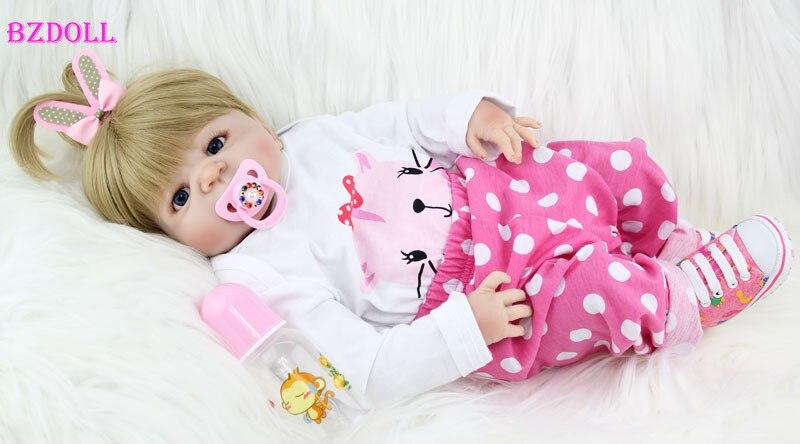 BZDOLL 55 سنتيمتر كامل سيليكون الجسم تولد من جديد طفلة ألعاب الدمى الوليد الأميرة الرضع دمية جميلة هدية عيد ميلاد الطفل الحاضر-في الدمى من الألعاب والهوايات على  مجموعة 1