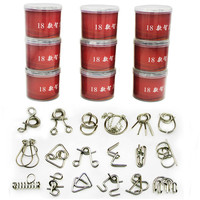18PCS Set Metal Puzzle IQ Mind Brain Teaser Magic Wire Puzzles Game Toys Solutio For Children