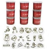 18PCS Set Metal Puzzle IQ Mind Brain Teaser Magic Wire Puzzles Game Toys Solutio For Children