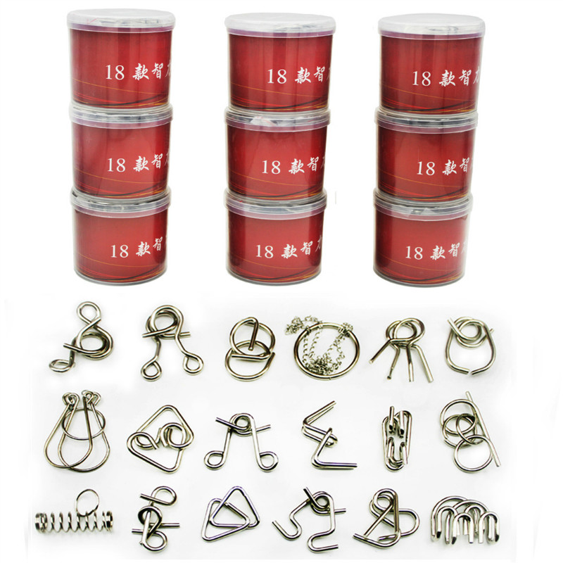 18PCS/Set Metal Puzzle IQ Mind Brain Teaser Magic Wire Puzzles Game Toys Solutio for Children Adults metal puzzle iq mind brain game teaser square educational toy gift for children adult kid game toy