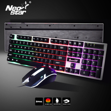 цена на Gaming Keyboard USB Wired Keyboard Mouse Set For PC Laptop Backlight Gamer Keyboard With Russian Spanish French Keyboard Sticker