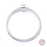 Luxury Genuine 100 925 Sterling Silver Snake Chain Charm Bracelet Basis Fit European Pan Charm Bracelet