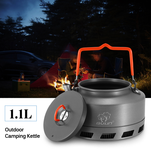 1.1L Portable Kettle Water Pot Teapot Coffee Pot Indoor Whistling Aluminum Alloy Tea Kettle Outdoor Camping Hiking Picnic Kettle
