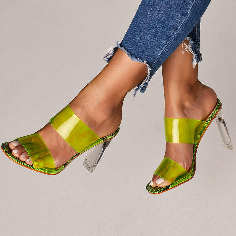 2019 Plus Size 42 Summer Women 10cm High Heels Slides Transparent Mules Lady Fetish Neon Green Sandals Clear Block Heels Shoes