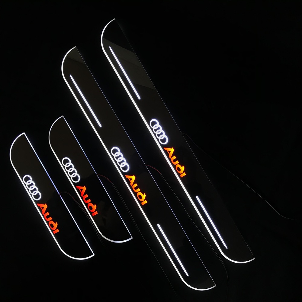 RQXR led moving door scuff for Audi A3 sportback 5 doors 8V dynamic door sill plate flat lining overlay flow/fixed light, 4pcsRQXR led moving door scuff for Audi A3 sportback 5 doors 8V dynamic door sill plate flat lining overlay flow/fixed light, 4pcs