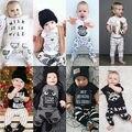 2016 2 pcs bebê Recém-nascido Da Criança Infantil Do Bebê Da Menina do Menino Roupas T camisa Tops Calças Roupas Conjunto Macacão Trepadeiras Roupas para crianças