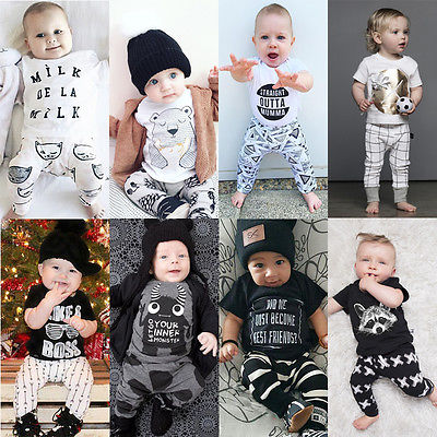 2016 2pcs Newborn Toddler Infant Baby Boy Girl Clothes T shirt Tops Pants Outfits Set Overalls Creepers Clothing for Children 0 24m newborn infant baby boy girl clothes set romper bodysuit tops rainbow long pants hat 3pcs toddler winter fall outfits