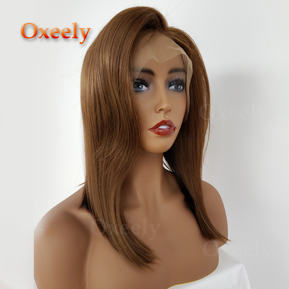 Oxeely #10 Brown Bob Wigs Synthetic Lace Front Wigs Side Part with Baby Hair Short Wigs Glueless Synthetic Lace Front Wigs