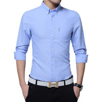 2019 hot Men Shirts Asian Size New Arrivals Slim Fit Male Shirt Solid Long Sleeve British Style Cotton Men's Shirt Plus Size 5xl