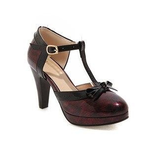 Image 4 - YMECHIC 2019 אופנה פטנט שחור ירוק אדום פלטפורמת ספייק עקבים גבוהים Bowtie המפלגה לוליטה נשים נעלי קיץ משאבות בתוספת גודל