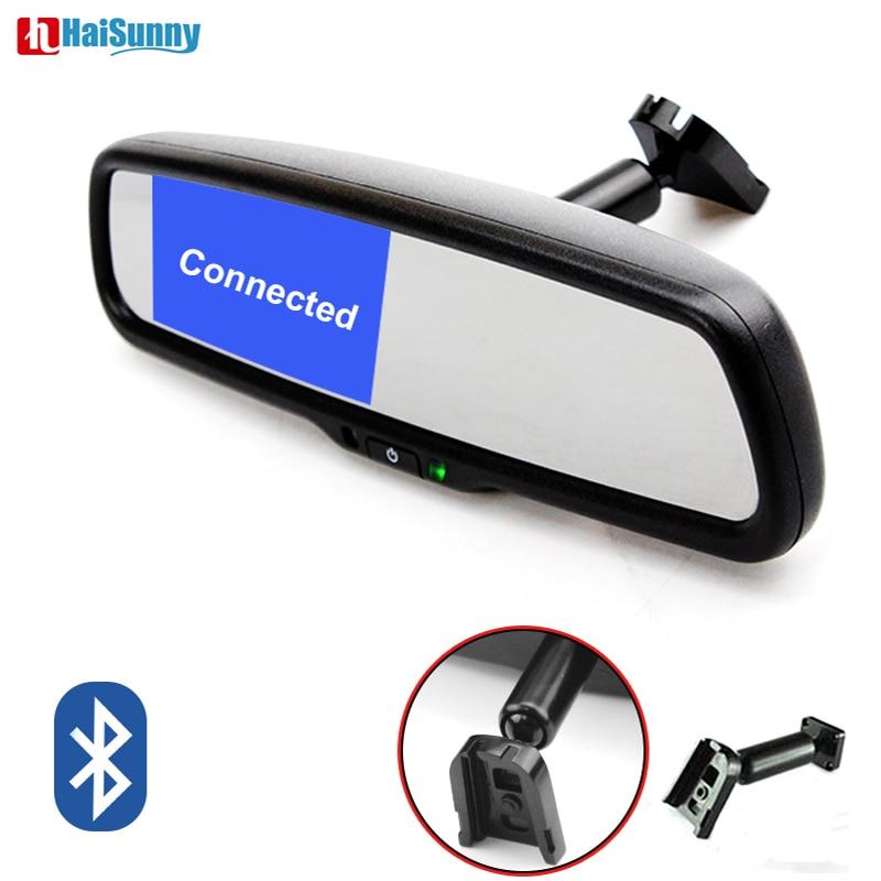 Suporte 4.3 Polegada HaiSunny Especial Espelho Retrovisor Do Carro Monitor de Suporte Kit Bluetooth Para VW Audi Kia Hyundai Com 2 de Entrada de vídeo