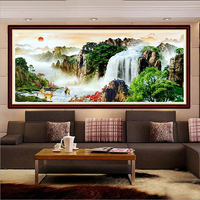 82*34cm diamond embroidery diy painting landscape waterfall rising sun mosaic cross stitch Full paste pictures wall sticker bead