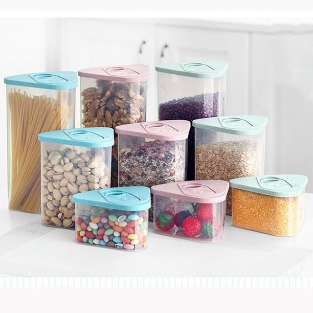 New 3PC Triangle Kitchen Sealed Box Healthy Food Storage Box Grains