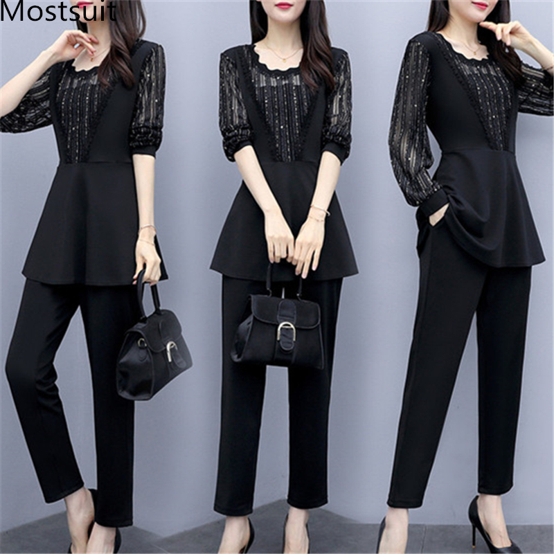 Plus Size Autumn Black Two Piece Sets Outfits Women Long Fake Two Pieces Tops And Pants Suit Elegant Korean Ol Style 2 Piece Set 25