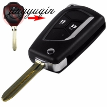 jingyuqin 2 Button Blank Modified Flip Folding Key Shell for Toyota Camry Hilux Prado Alarm Fob Case