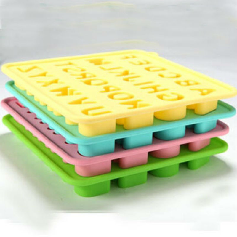 New 26 Alphabet Letter silicone resin ice cream soap cube tray form mold