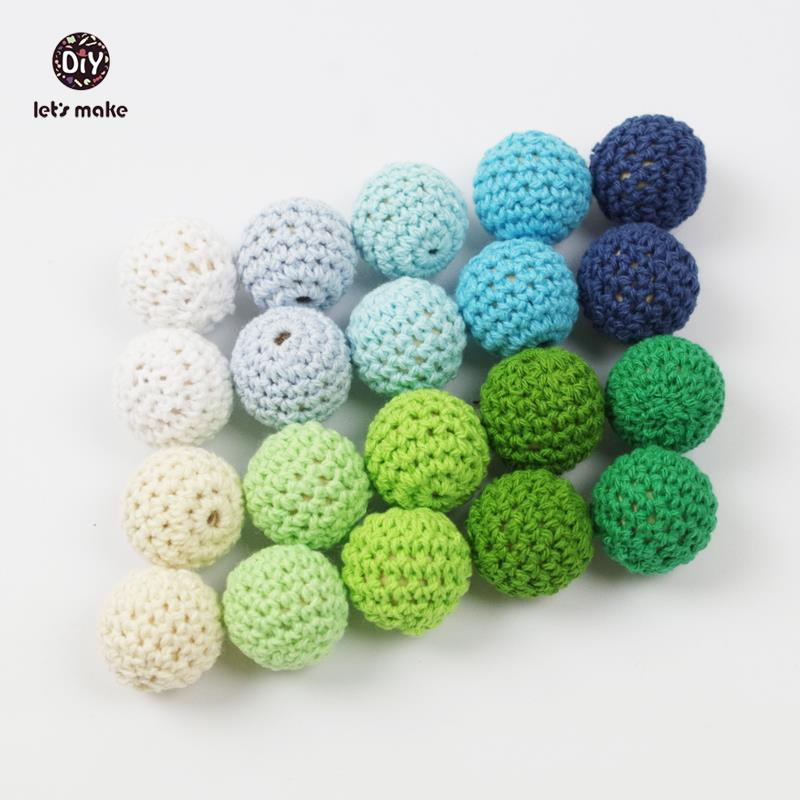 Lets Make 80PCS Elegant 20mm Crochet Beads 26 Color Available For Choose Knitted By Cotton Thread DIY Jewellery Making Beads