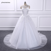 Yiwumensa Vestidos De Novia Wedding Gowns Bridal Dresses 2017 Applique Lace Wedding Dress Robe De Mariee