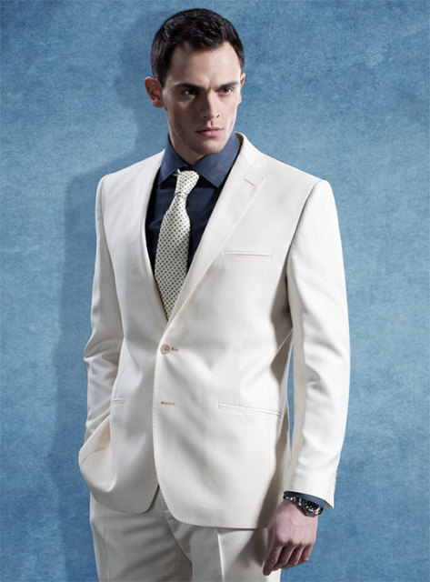 2017 Latest Coat Pant Designs Ivory White Formal Men Suit Slim Fit ...