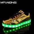 Марка Мужчины фонарь Полуботинки Золото Ленты 7 Цветов светящиеся обувь СВЕТОДИОДНЫЕ светящиеся обуви мужской USB аккумуляторная легкие ботинки DD-65
