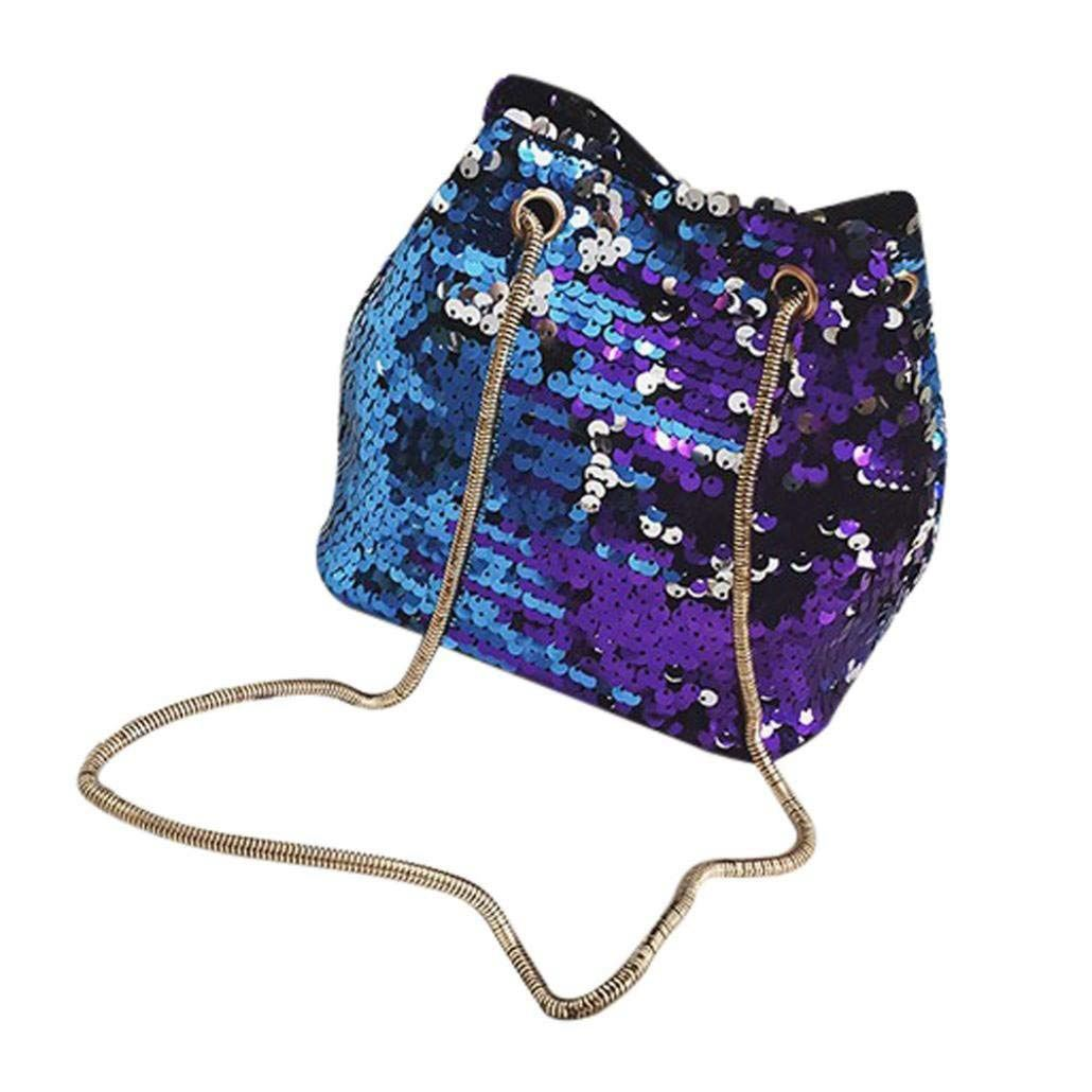 Women Sequins Bag Fashion Handbag Purse Glitter Shoulder Bag Evening Party Clutch for Girl(Blue) 1