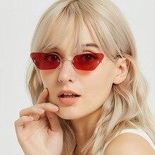 Ultralight Women Small Rimless Cat Eye Sunglasses Popular Men Clear Purple Blue Red Fashion Sun Glasses Female UV400 Tint Shades