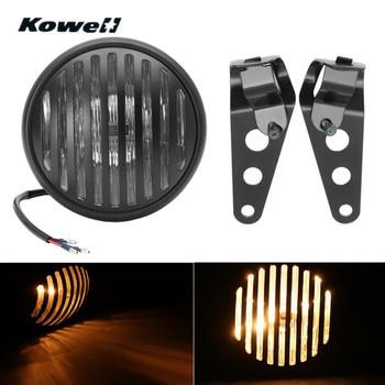 KOWELL Retro Grill Motorcycle Headlight Lamp for Harley Davidson 2012-2013 + Moto Bike Light Cover Hoods Grill Headlamp +Bracket