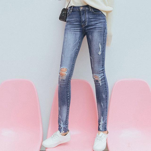 Las mujeres Del Otoño Del Resorte Pantalones 2017 Ocasionales de Las Señoras de algodón Azul Con Cremallera Bajo La Cintura Ripped Apenada Flaco Tobillo Longitud de Los Pantalones Vaqueros