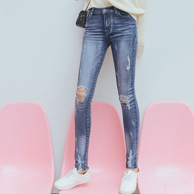 Women Spring Autumn Trousers 2017 Ladies Casual Blue Zipper Fly Low Waist Ripped Distressed Skinny Ankle Length Jeans Pants