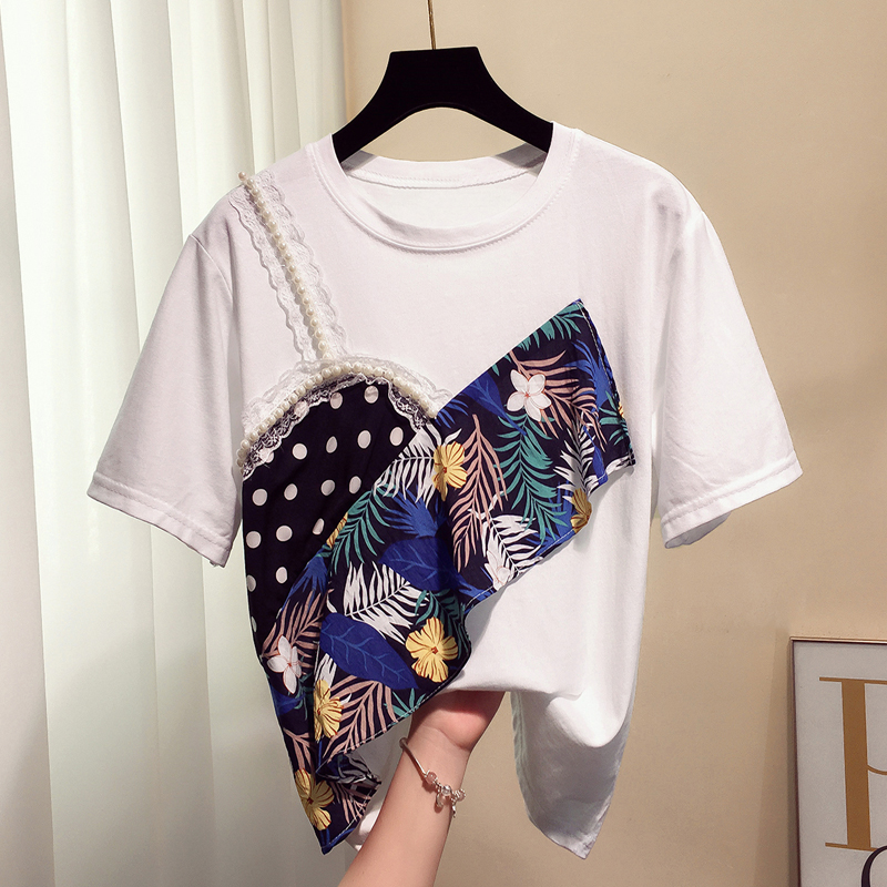 Loose T-shirt Female Short Sleeve 2019 Summer New Fashion Printing Lotus Leaf Side Stitching Fake Twopiece Tops Students Tshirt