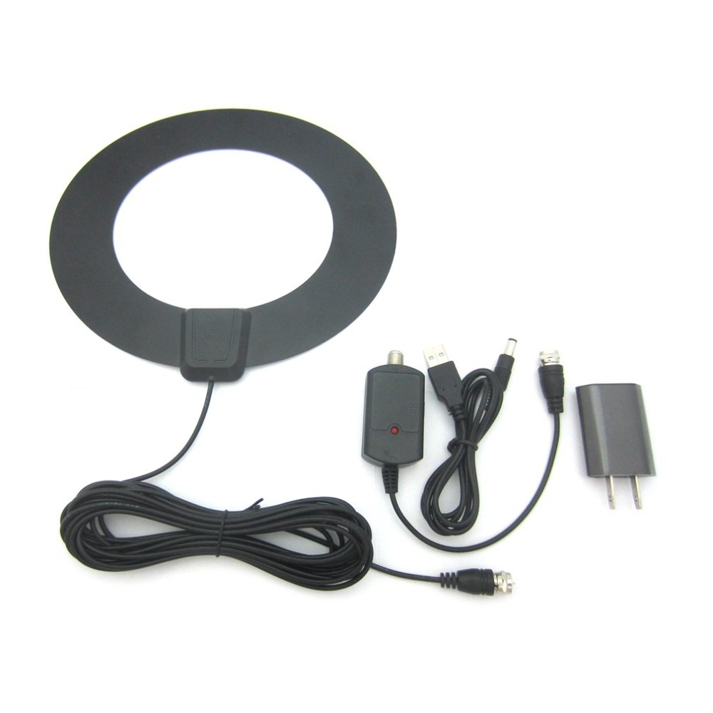 JD010-HD004 50 Miles Reception Range Digital Indoor Aerial Round Ultra thin HD Television Antenna TV Aerial Amplifier Booster
