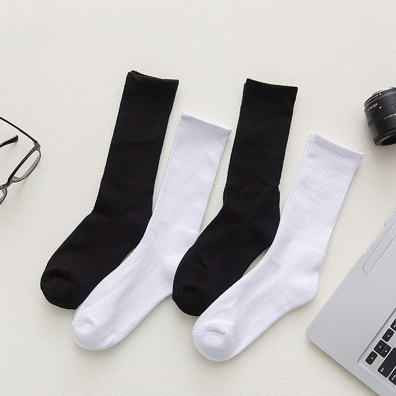 IMINCN 1Pair INS Cotton Brand New Quality Casual Long Office Sport Business Anti-Bacterial Deodorant  Man Black White Long Sock