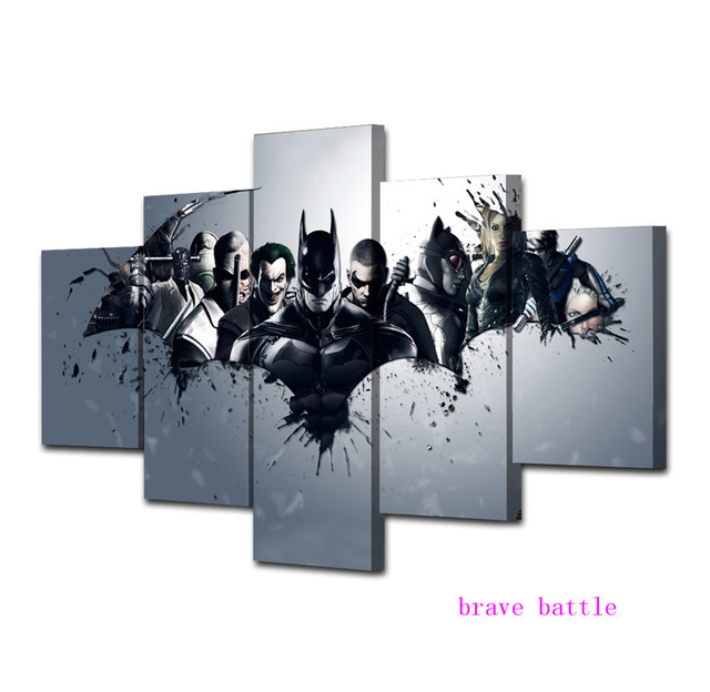 Batman Dark Knight Comics Justice League 5 Pieces Canvas Painting Print Living Room Home Decor Modern Wall Art Oil Painting