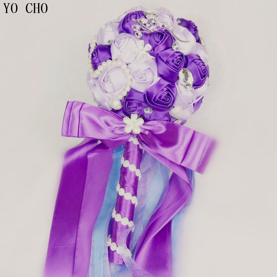 Artificial bridal bouquet supplies oem customized bead crystal silk artificial bridal bouquet supplies oem customized bead crystal silk ribbon rose flower bridesmaid bridal purple wedding bouquet in artificial dried izmirmasajfo