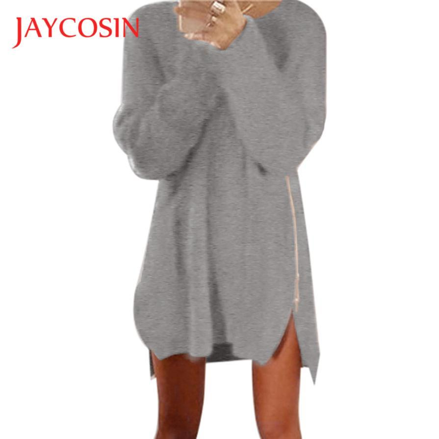 JAYCOSIN Newly Design Women Winter Knitted Jumper Long Sleeve Side Slit Zipper Mini Sweater Dress 70922