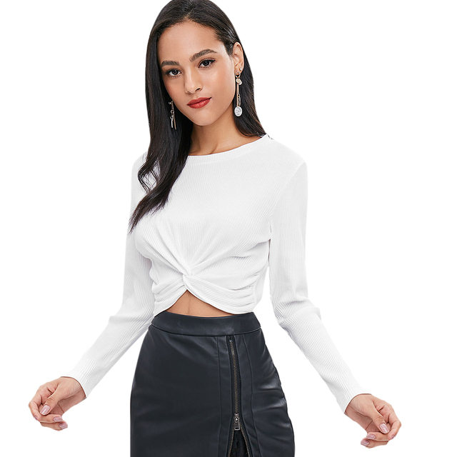 e2de52d91c225 ZAFUL Twist Front Ribbed Cropped Plain Long Sleeve Belly Shirt Round Neck  Solid Tee