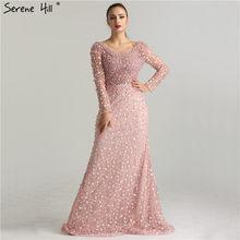 4e27a7c53f Luksusowe suknie wieczorowe 2019 syrenka długie rękawy perły koronki haft  różowy kobiety strona formalna suknia suknia szata de .
