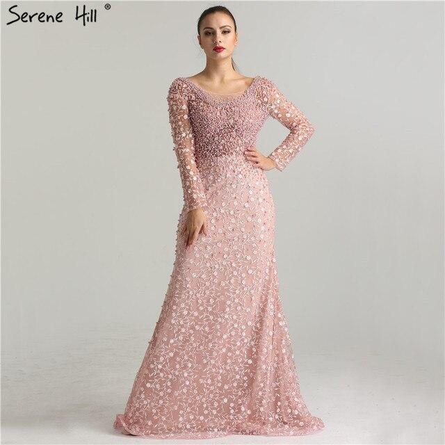 610a9177f26 Robes de soirée de luxe 2019 sirène manches longues perles dentelle  broderie rose femmes Robe de