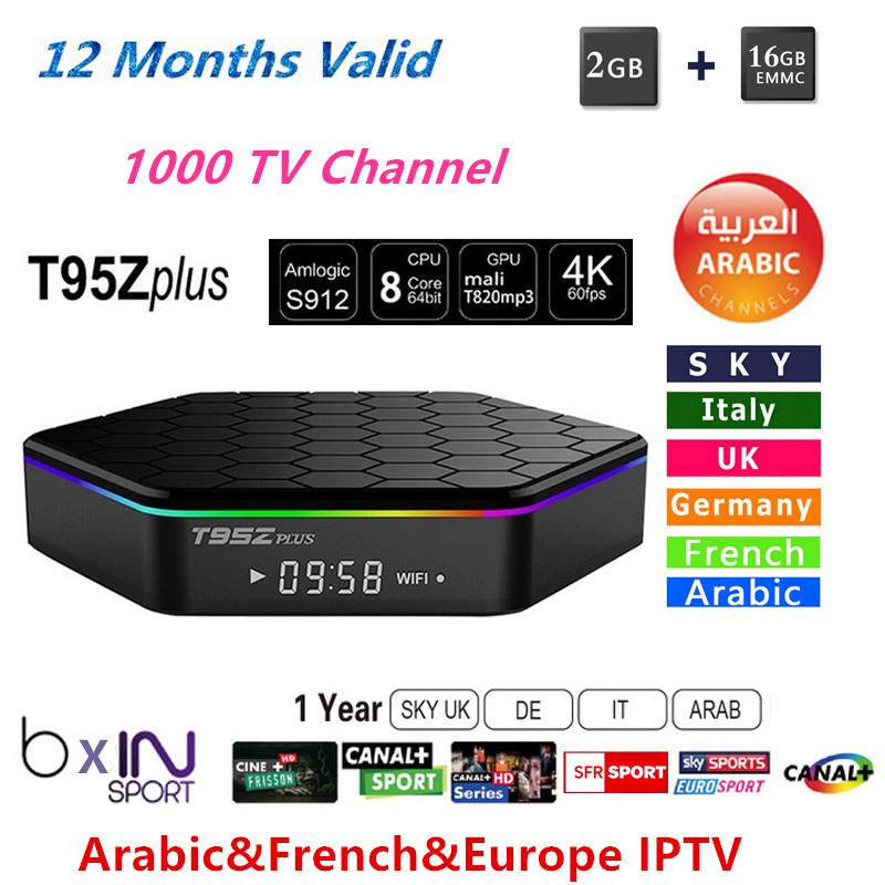 Prix pour 1 Année IPROTV Europe Français et Arabe IPTV Octa-core S912 Android 6.0 4 K OTT Boîte avec IPTV Canal Canal Cine plus 2 GB RAM 5 3GWIFI