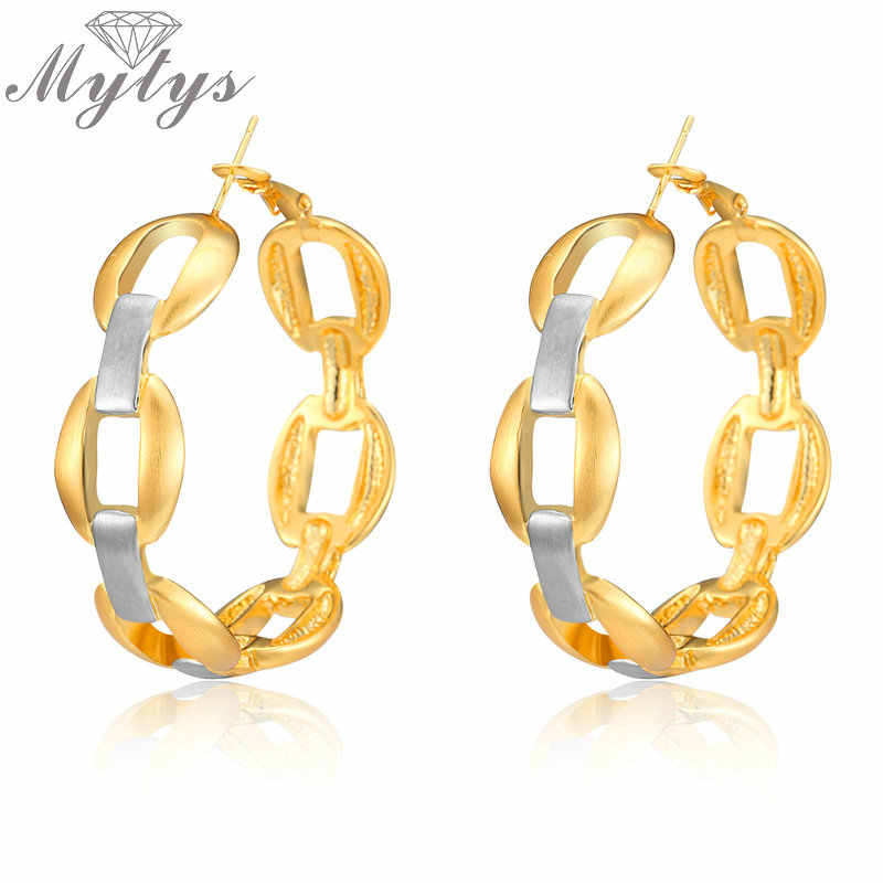 Mytys Two Tone Gold และ Silver Big Hoop ต่างหูผู้หญิงผสมสีคู่ Gold Rolo Link Chain ต่างหู CE350
