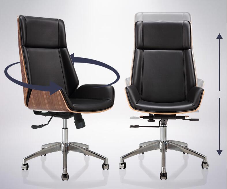 Schienale alto in legno curvato sedia del computer sedia girevole